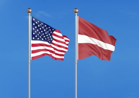 United States of America vs Latvia. Thick colored silky flags of America and Latvia. 3D illustration on sky background. - Illustration 版權商用圖片