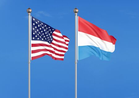 United States of America vs Luxembourg. Thick colored silky flags of America and Luxembourg. 3D illustration on sky background. - Illustration Stockfoto