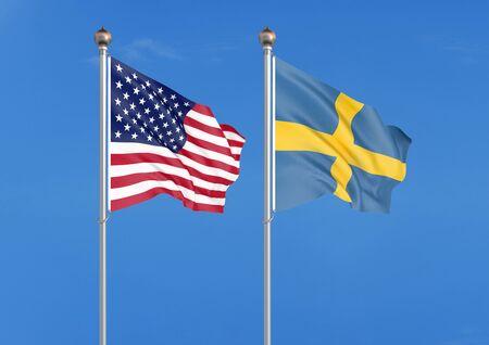 United States of America vs Sweden. Thick colored silky flags of America and Sweden. 3D illustration on sky background. - Illustration Reklamní fotografie