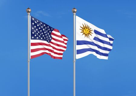 United States of America vs Uruguay. Thick colored silky flags of America and Uruguay. 3D illustration on sky background. - Illustration