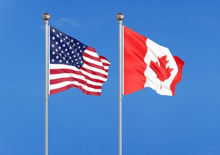 United States of America vs Canada. Thick colored silky flags of America and Canada. 3D illustration on sky background. - Illustration Reklamní fotografie
