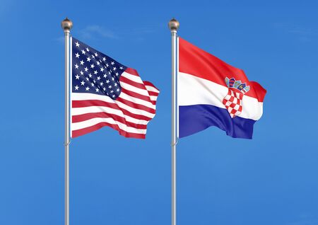 United States of America vs Croatia. Thick colored silky flags of America and Croatia. 3D illustration on sky background. - Illustration