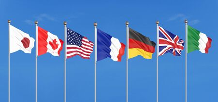 Silk waving G7 flags of countries of Group of Seven Canada, Germany, Italy, France, Japan, USA states, United Kingdom. Blue sky background. Big G7 in France 2019. 3D illustration. Reklamní fotografie