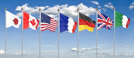 Silk waving G7 flags of countries of Group of Seven Canada, Germany, Italy, France, Japan, USA states, United Kingdom.