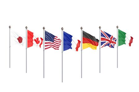 G7 flags Silk waving flags of countries of Group of Seven Canada, Germany, Italy, France, Japan, USA states, United Kingdom 2019. Big Seven. Isolated on white. 3D illustration. Stok Fotoğraf