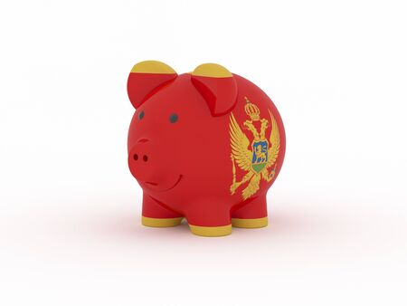 Finance, saving money, piggy bank on white background. Montenegro flag. 3d illustration. Banco de Imagens