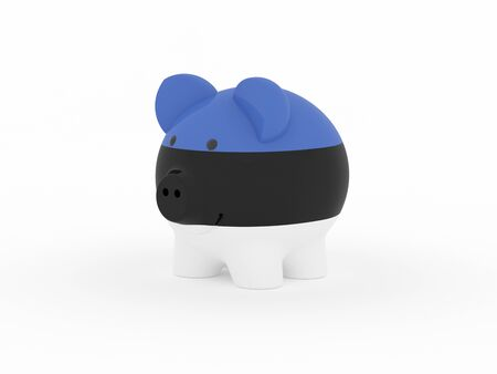 Finance, saving money, piggy bank on white background. Estonia flag. 3d illustration. Banco de Imagens