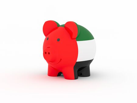 Finance, saving money, piggy bank on white background. United Arab Emirates flag. 3d illustration.