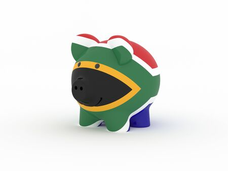 Finance, saving money, piggy bank on white background. South Africa flag. 3d illustration. Banco de Imagens