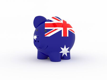 Finance, saving money, piggy bank on white background. Australia flag. 3d illustration.