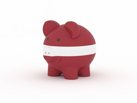 Finance, saving money, piggy bank on white background. Latvia flag. 3d illustration.