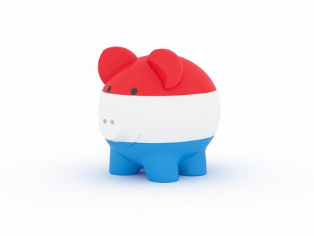 Finance, saving money, piggy bank on white background. Luxembourg flag. 3d illustration. Banco de Imagens