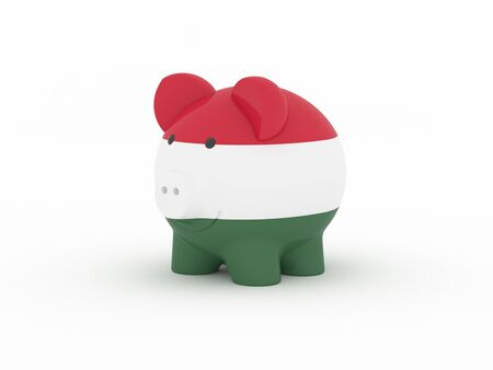 Finance, saving money, piggy bank on white background. Hungary flag. 3d illustration. Banco de Imagens
