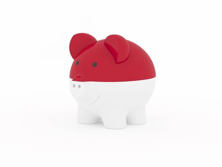 Finance, saving money, piggy bank on white background. Indonesia flag. 3d illustration.