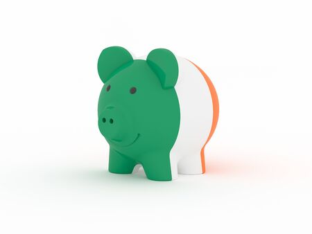 Finance, saving money, piggy bank on white background. Ireland flag. 3d illustration.