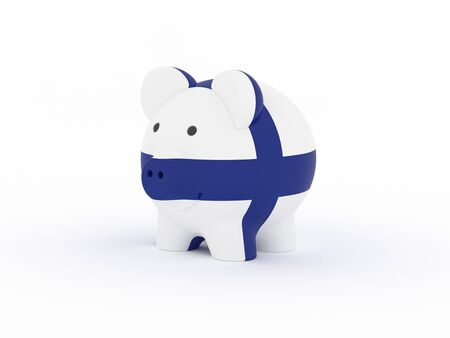 Finance, saving money, piggy bank on white background. Finland flag. 3d illustration. Banco de Imagens
