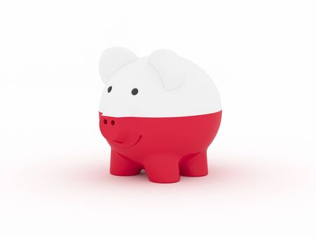Finance, saving money, piggy bank on white background. Poland flag. 3d illustration.