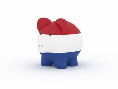 Finance, saving money, piggy bank on white background. Netherlands flag. 3d illustration.