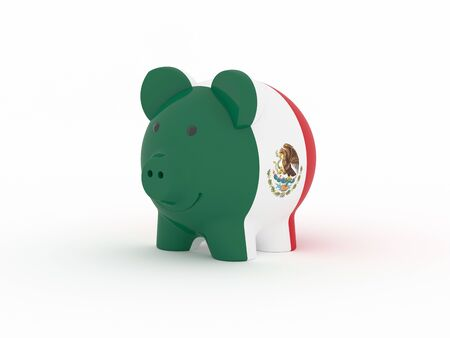 Finance, saving money, piggy bank on white background. Mexico flag. 3d illustration.