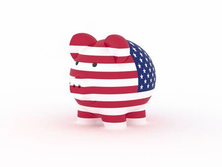 Finance, saving money, piggy bank on white background. USA flag. 3d illustration.