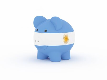Finance, saving money, piggy bank on white background. Argentina flag. 3d illustration.