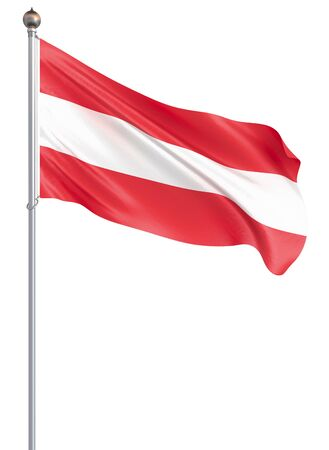 Austria flag blowing in the wind. Isolated on white. Background texture. Vienna, Austria. 3d rendering, wave. - Illustration Banco de Imagens