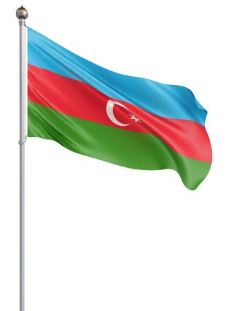 Azerbaijan flag blowing in the wind. Background texture. 3d rendering; waving flag. Isolated on white.