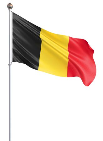 Belgium flag blowing in the wind. Background texture. Brussels, Belgium. 3d rendering, wave. – Illustration .Isolated on white;