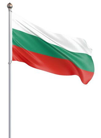 Bulgaria flag blowing in the wind. Background texture. Isolated on white. Sofia, Bulgaria. 3d rendering, wave. - Illustration