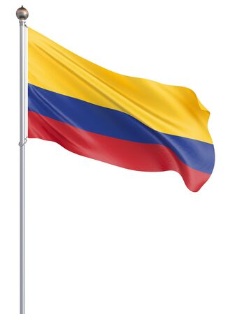 Colombia flag blowing in the wind. Background texture. 3d rendering, waving flag.