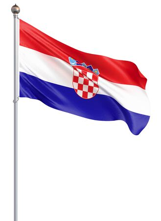 Croatia flag blowing in the wind. Background texture. 3d rendering, waving flag. - Illustration
