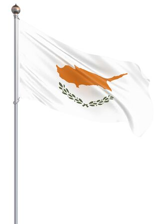Cyprus flag blowing in the wind. Background texture. 3d rendering, wave. - Illustration .Isolated on white. Zdjęcie Seryjne