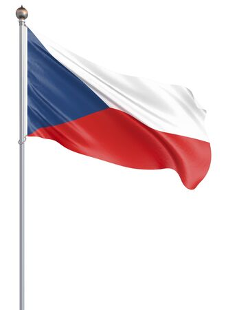 Czech Republic flag blowing in the wind. Background texture. 3d rendering, wave. – Illustration. Isolated on white.
