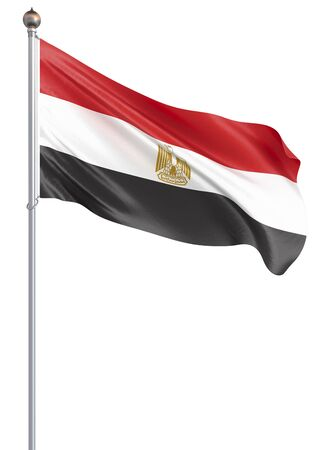 Egypt flag blowing in the wind. Background texture. 3d rendering, waving flag. – Illustration, isolated on white.