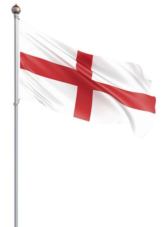 Waving England Flag. Background texture. 3d rendering, wave. – Illustration. Isolated on white. Zdjęcie Seryjne
