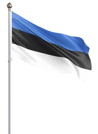 Estonia flag blowing in the wind. Background texture. 3d rendering, wave. - Illustration. Isolated on white. Banco de Imagens