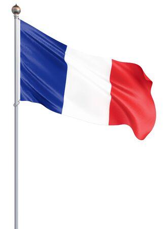 France flag blowing in the wind. Background texture. 3d rendering, wave. UEFA Euro 2020. Football. 3d illustration. - Illustration Zdjęcie Seryjne