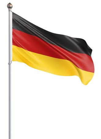 Germany flag blowing in the wind. Background texture. 3d rendering, wave. - Illustration
