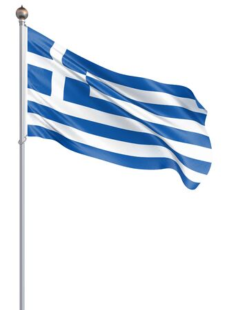 Greece flag. Waving flag of Greece 3d illustration. Athens - Illustration.
