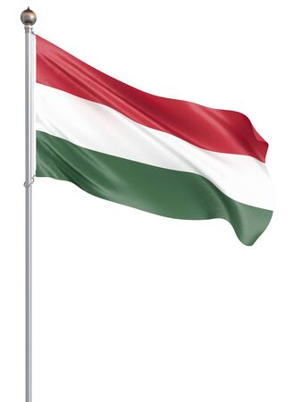 Hungary flag blowing in the wind. Background texture. 3d rendering, wave. Isolated on white. Illustration. Banco de Imagens