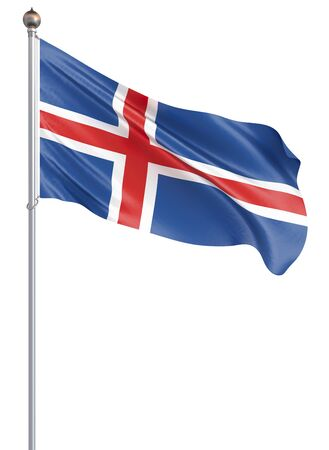 Iceland flag blowing in the wind. Background texture. 3d rendering, waving flag. – Illustration, capital, Reykjavik. Isolated on white. Zdjęcie Seryjne