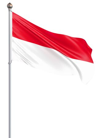 Indonesia flag blowing in the wind. Background texture. Jakarta. 3d rendering, waving flag. Isolated on white. Illustration.