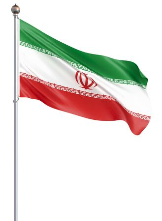 Iran flag blowing in the wind. Background texture. 3d rendering; waving flag. Isolated on white. Illustration.