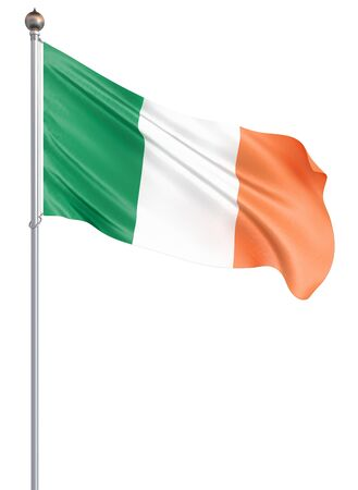 Ireland flag blowing in the wind. Background texture. 3d rendering, wave. Isolated on white.