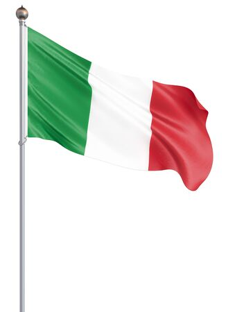 Italy flag blowing in the wind. Background texture. Isolated on white. 3d illustration.