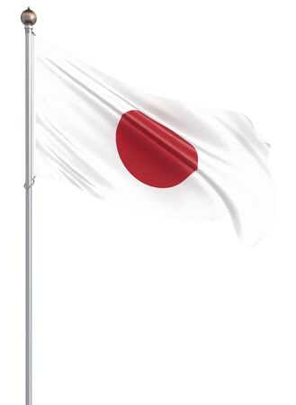 Japan flag blowing in the wind. Background texture. 3d rendering; waving flag. Isolated on white. Illustration. Zdjęcie Seryjne