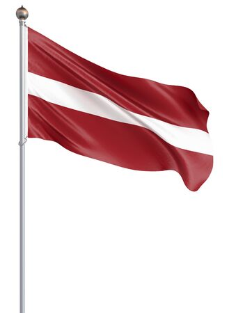 Latvia flag blowing in the wind. Background texture. 3d rendering, wave. Isolated on white. Banco de Imagens
