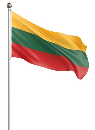 Lithuania flag blowing in the wind. Background texture. 3d rendering, wave. Isolated on white. Illustration.