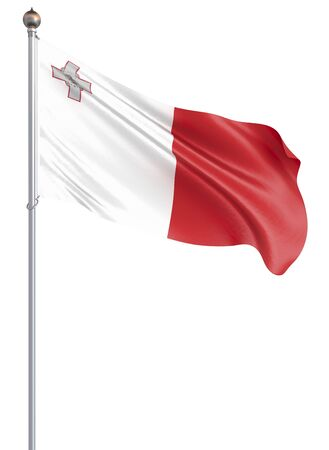 Malta flag blowing in the wind. Background texture. 3d rendering, wave. Isolated on white.