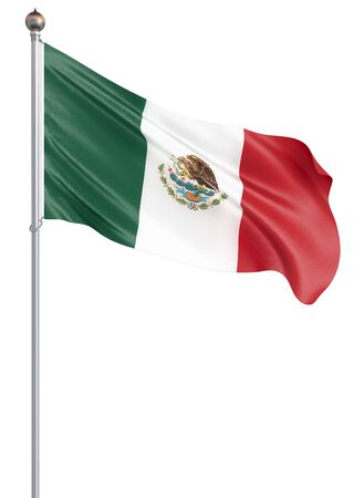Mexico flag blowing in the wind. Background texture. 3d rendering, waving flag. - Illustration Banco de Imagens